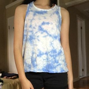 Aeropostale Blue and White Racerback Tank Top